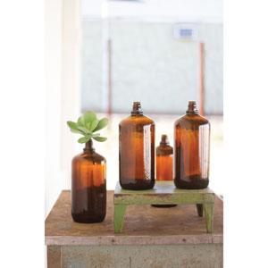 Antique Glass Brown Bottle, Set of Four
