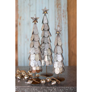 Galvanized Trees with Star Finial, Set of Three