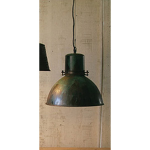 Green Patina and Metal Hanging One-Light Pendant