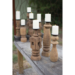 Assorted Reclaimed Wooden Furniture Leg Candle Holder, Set of Three