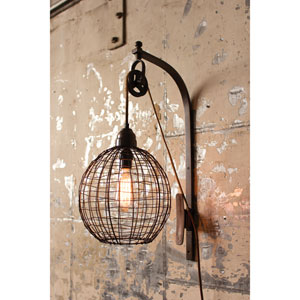 Wire Sphere One-Light Wall Sconce With Pulley