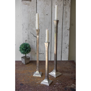 Antique Silver Aluminum Tall Taper Candle Holder, Set of Three