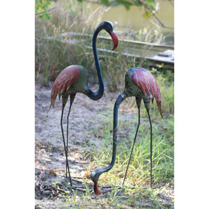 Recycled Metal Flamingos, Set Of Two