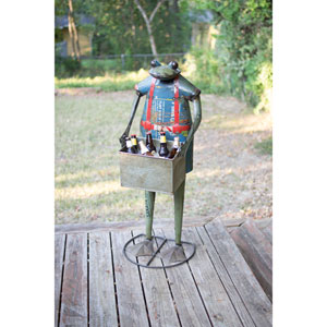 Recycled Metal Standing Frog with Drink Tub