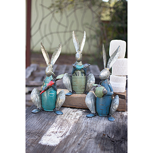 Set of Three Recycled Metal Rabbits