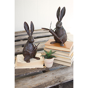 Set of Two Rustic Drip Weld Rabbits