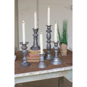 Zinc Candle Holders with Brass Detail, Set of Five
