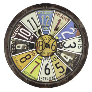 Hildale Distressed Brown 27-Inch Clock