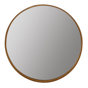 Vianna Gold Leaf 30-Inch Round Shelf Mirror