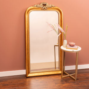 Camilla Antique Gold 58-Inch Arched Floor Mirror