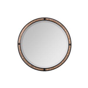 Preslie Matte Black 32-Inch Round Wall Mirror
