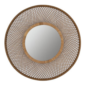 Hamptons Natural Brown 36-Inch Rattan Wall Mirror