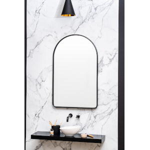 Sebastian Black 38-Inch Arched Wall Mirror