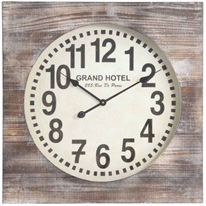 Distressed White Wash Augusta Clock