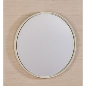 Hadly White Round Mirror
