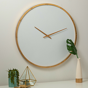 Wade Modern White and Gold Wall Clock
