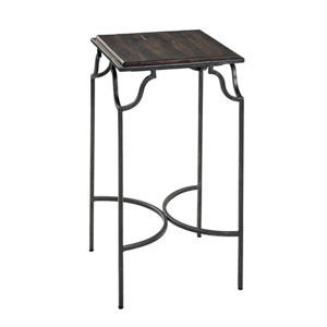 Macon Grey Metal Side Table with Distressed Wood Top