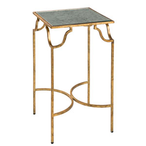 Frisco Antique Gold Side Table with Antique Glass Top