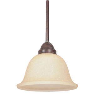 One-Light Rubbed Bronze Mini Pendant with Tea Stained Glass