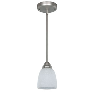 One-Light Satin Nickel Mini Pendant with Linen Glass