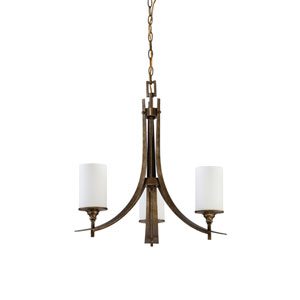 Empire Three-Light Antique Bronze Chandelier with Satin Cased Opal Glass
