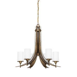 Empire Six-Light Antique Bronze Chandelier with Satin Cased Opal Glass