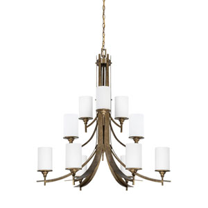 Empire Twelve-Light Antique Bronze Chandelier with Satin Cased Opal Glass