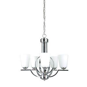 Meridian Halo Five-Light Polished Chrome Chandelier with Milk White Glass