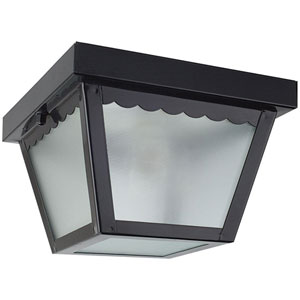 Outdoor Builders One-Light Black Outdoor Flush Mount with Textured Glass