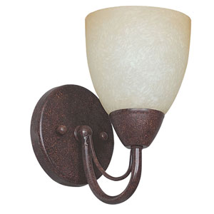 Tempest One-Light Rubbed Bronze Sconce with Alpine Glass