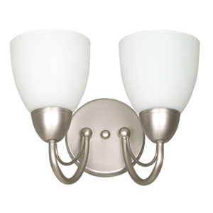 Tempest Two-Light Satin Nickel Sconce with Opal Glass