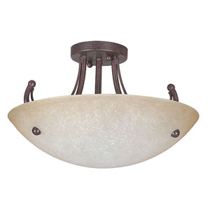 Tempest Three-Light Rubbed Bronze Semi-Flush with Alpine Glass