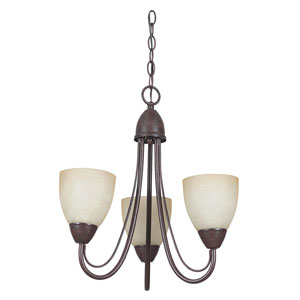 Tempest Three-Light Rubbed Bronze Chandelier with Alpine Glass