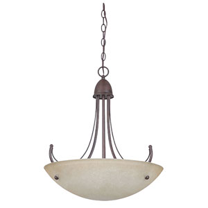 Tempest Three-Light Rubbed Bronze Bowl Pendant with Alpine Glass