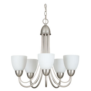 Tempest Five-Light Satin Nickel Chandelier with Opal Glass