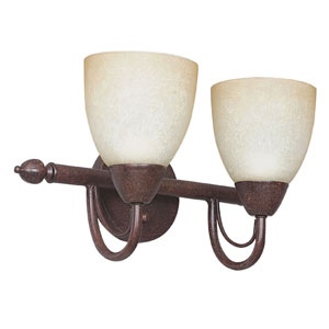 Tempest Two-Light Rubbed Bronze Vanity Fixture with Alpine Glass