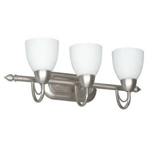 Tempest Three-Light Satin Nickel Vanity Fixture with Opal Glass