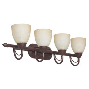 Tempest Four-Light Rubbed Bronze Vanity Fixture with Alpine Glass