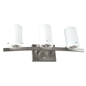 Boca Three-Light Bright Satin Nickel Vanity Fixture with White Opal Glass