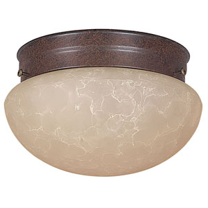 One-Light Rubbed Bronze Flush Mount with Tea Stained Glass