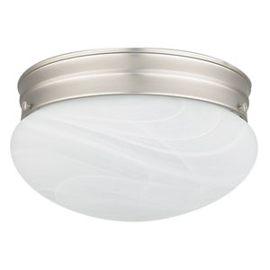 One-light Satin Nickel Flush Mount with Faux Alabaster Glass
