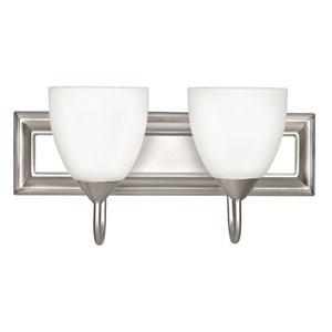 Two-Light Satin Nickel Vanity Fixture with Round Milk Glass