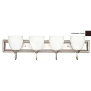 Four-Light Oil Bronze Bath Vanity Fixture with Round Milk Glass