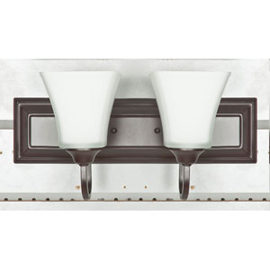 Two-Light Oil Bronze Bath Vanity with Square Milk Glass