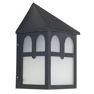 One-Light Black Outdoor Wall Mount with Frosted Panels