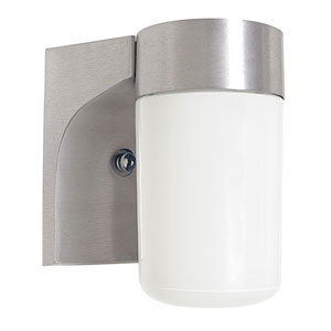 Outdoor Builders One-Light Satin Aluminum Outdoor Wall Fixture with Opal Glass