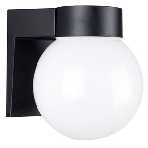 One-Light Black Outdoor Wall Fixture with Opal Glass Globe
