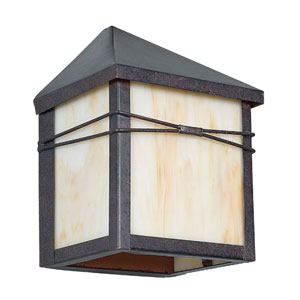 Craftsman One-Light Rubbed Bronze Outdoor Wall Fixture with Honey Glass