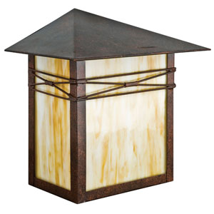 Craftsman 10.5-Inch Tall One-Light Rubbed Bronze Outdoor Wall Fixture with Honey Glass