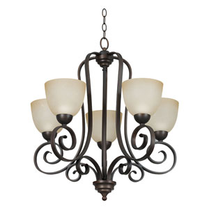 Provano Five-Light Tique Bronze Chandelier with Buttercup Glass